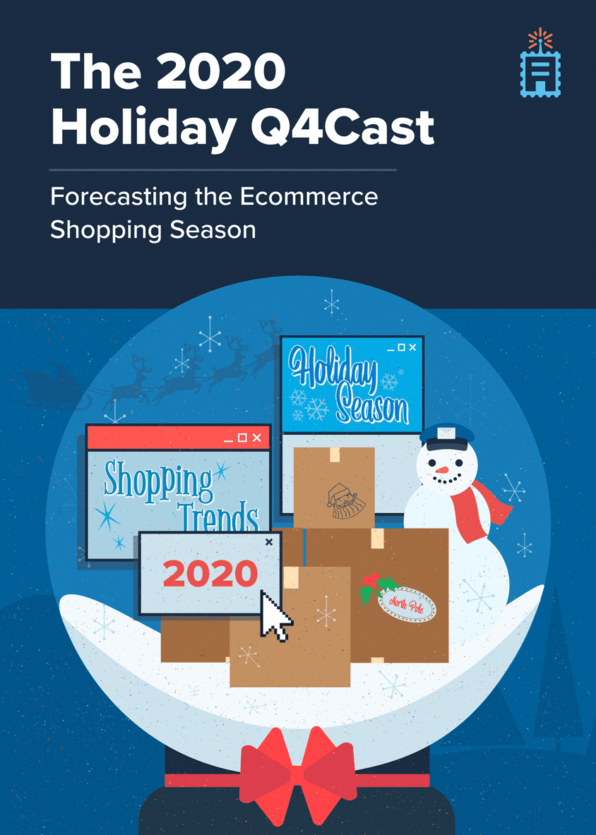 Book cover illustration of ShipperHQ's ebook: The 2020 Holiday Q4Cast